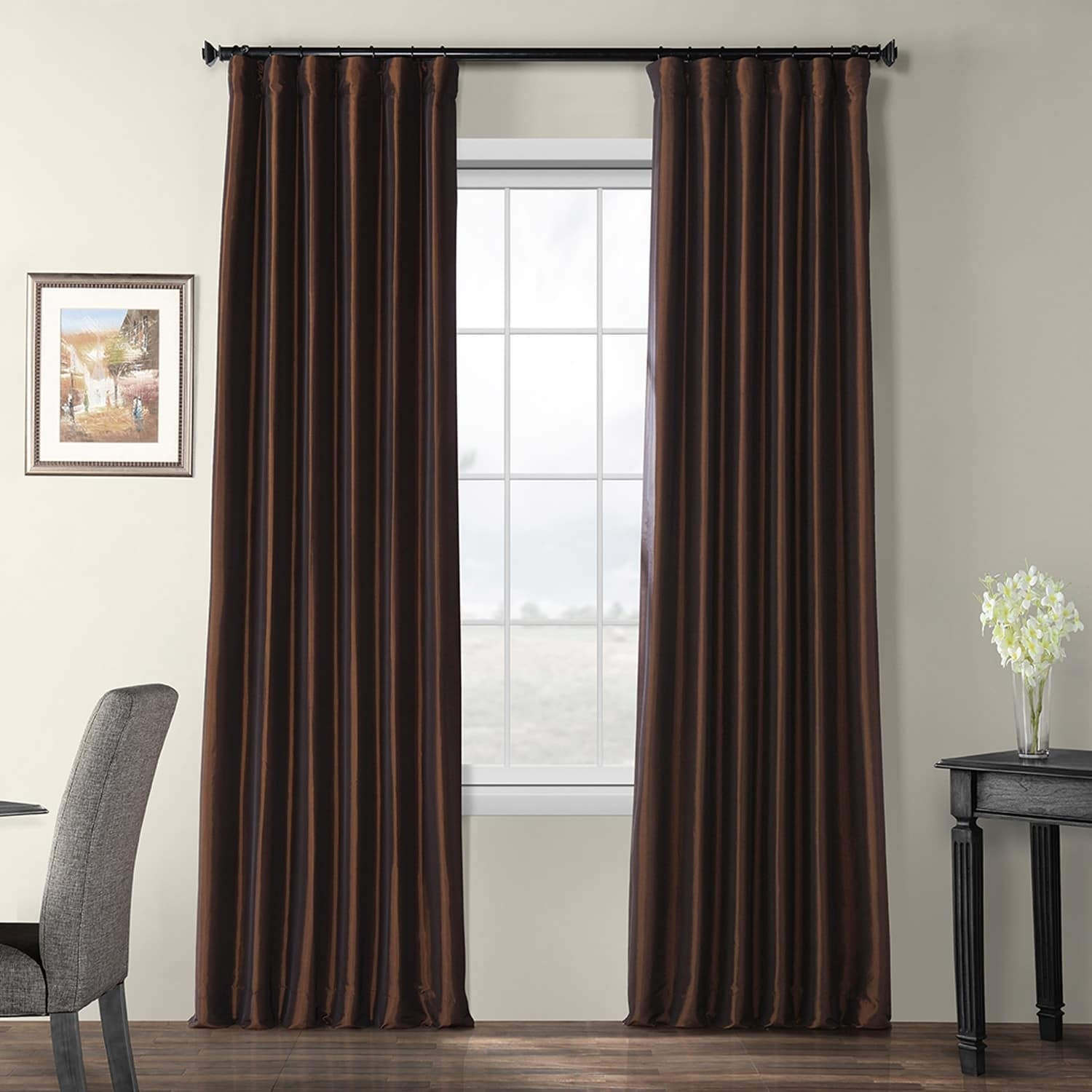 EFF Faux Silk Taffeta Solid Blackout Curtain Panel (As Is...