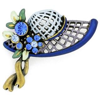 Base Metal Blue Hat Pin Crystal Brooch Pin