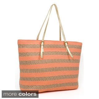 Magid Striped Paper Straw Double Handle Tote Bag