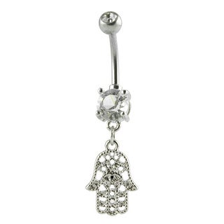 Supreme Jewelry Hamsa Hand Cubic Zirconia Belly Ring