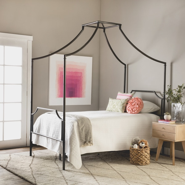 Bailey Twin Size Metal Canopy Bed & Bailey Twin Size Metal Canopy Bed - Free Shipping Today ...