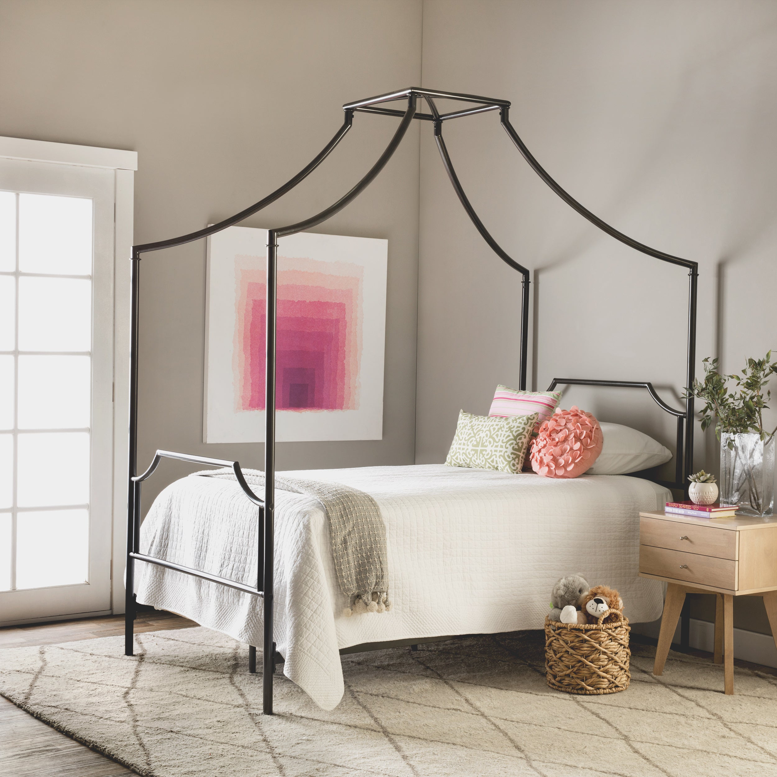 The Curated Nomad Bailey Twin Size Metal Canopy Bed Overstock 9086920