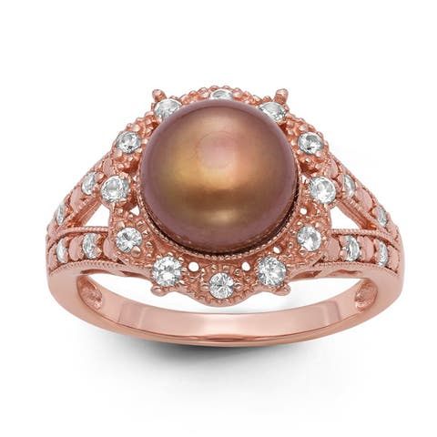 Gioelli Rose Gold-plated Silver Freshwater Chocolate Pearl and Created White Sapphire Ring