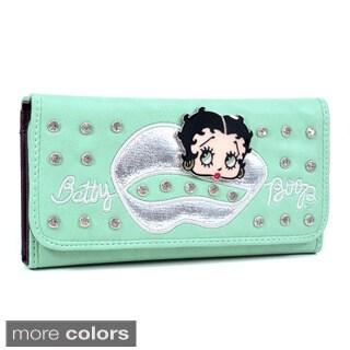 Betty Boop Kiss Design Rhinestone Checkbook Wallet