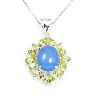 Sitara Sterling Silver Blue Onyx and Peridot Pendant (India)