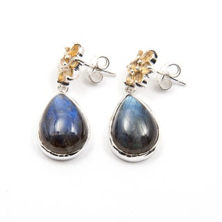 Sitara Sterling Silver Labradorite and Citrine Dangle Earrings (India)