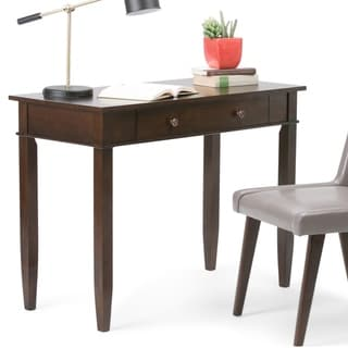 WYNDENHALL Sterling Solid Wood Contemporary 42 inch Wide Home Office Desk in Dark Tobacco Brown