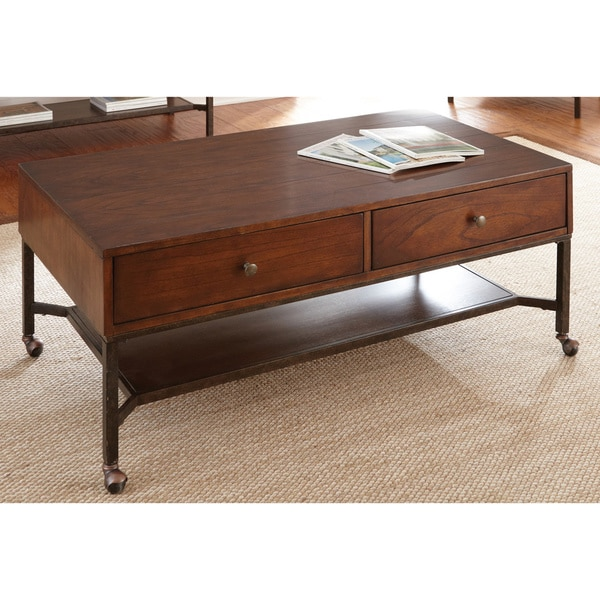 Hammond Medium Cherry 2drawer Coffee Table with Casters by