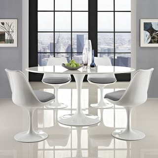 "Lippa Wood Top 60"" Oval-shaped White Dining Table"