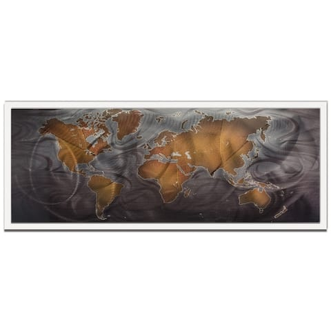 'Bronze Pewter Land and Sea' Traditional World Map Art on Colored Metal