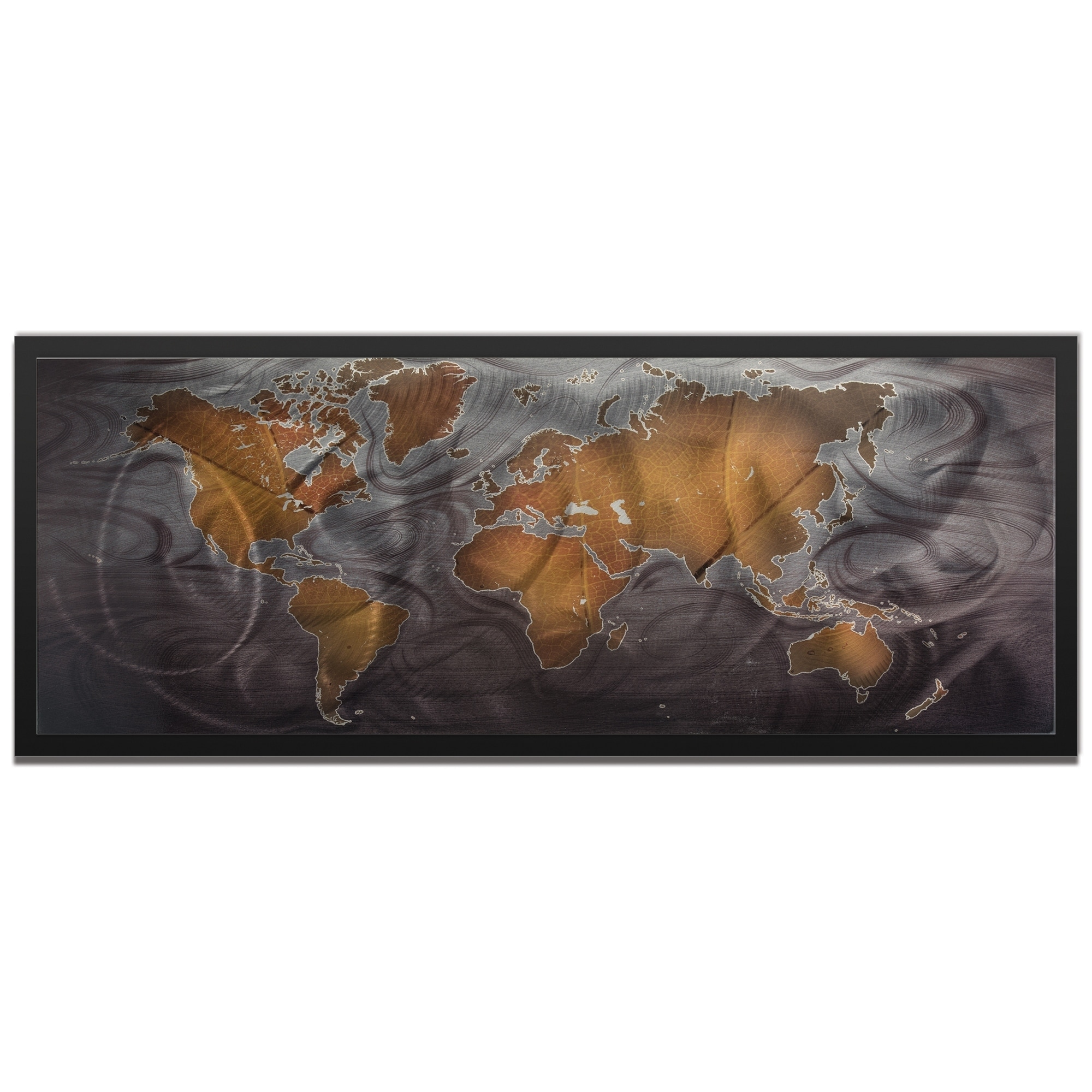 Bronze Pewter Land And Sea Traditional World Map Art On Colored Metal