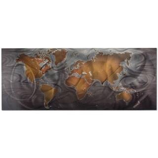 Metal Art Studio 'Modern World Map' Land and Sea Contemporary Travel Art