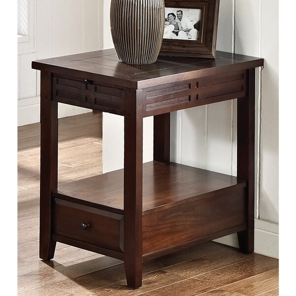 Crosby Mocha Cherry Chairside Table by Greyson Living Free