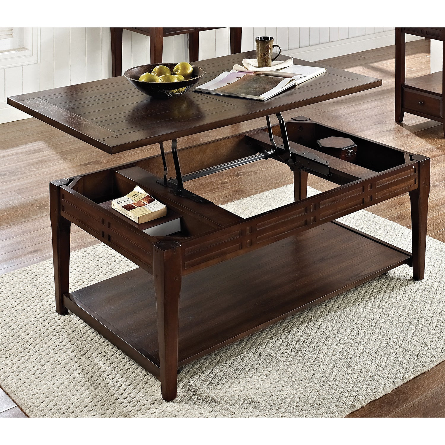 Beau Crosby Mocha Cherry Lift Top Coffee Table With Casters By Greyson Living