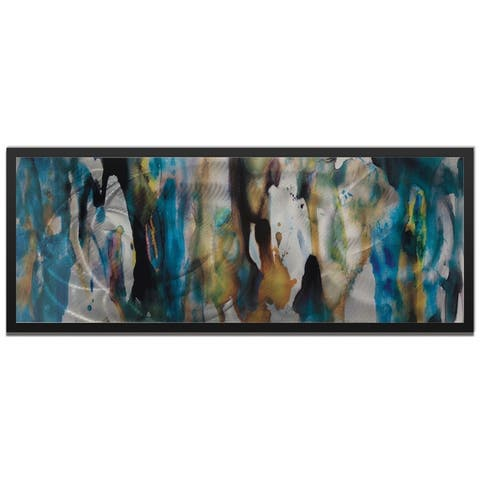 Cool Colors Metal Wall Art 'Watercolor Composition' Blue, Tan & Silver Abstract Metal Artwork