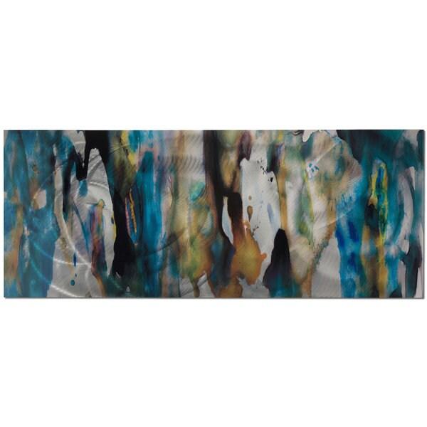 Cool Colors Metal Wall Art u0026#x27;Watercolor Compositionu0026#x27; Blue  sc 1 st  Overstock.com & Shop Cool Colors Metal Wall Art u0027Watercolor Compositionu0027 Blue Tan ...