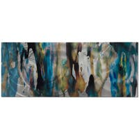 Cool Colors Metal Wall Art 'Watercolor Composition' Blue, Tan & Silver Abstract Metal Artwork - Multi