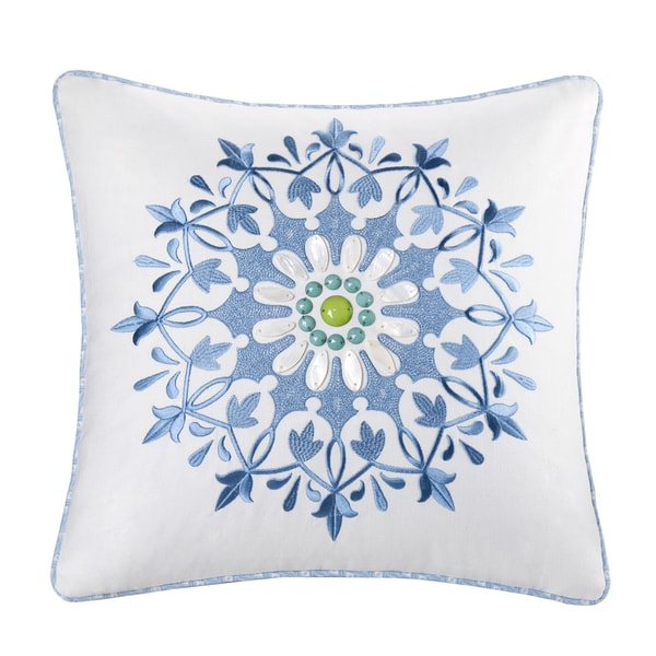 Echo Design Sardinia Cotton Square Embroidered 18-inch Pillow