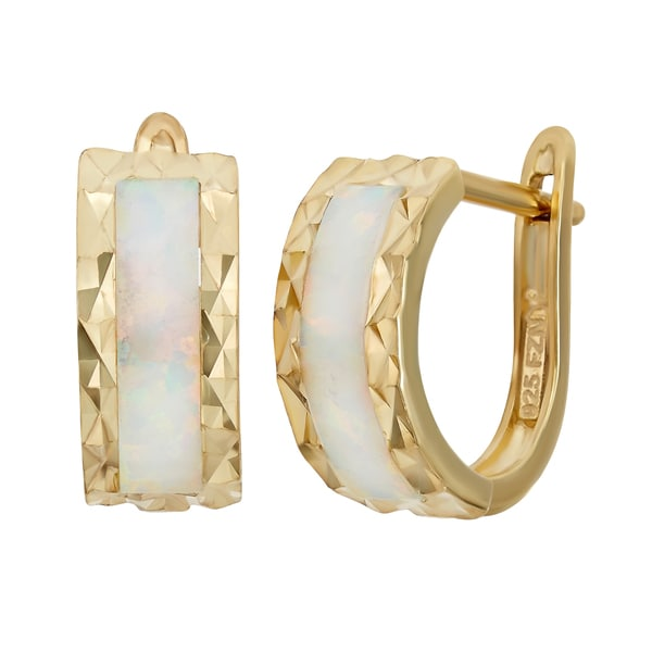 566cc67e8 Gioelli Gold over Sterling Silver Created Opal Diamond-cut Hoop Earrings