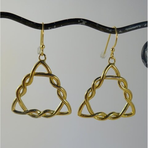 Handmade Bali Goldtone Triskelion Dangle Earrings (Indonesia)
