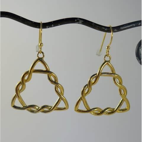 Handmade Brass Triskelion Dangle Earrings by Spirit (Indonesia)