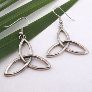 Handmade Silvertone Triskelion Dangle Earrings (Bali)