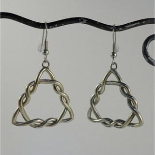 Handmade Celtic Knot Triangle Dangle Earrings (Indonesia)