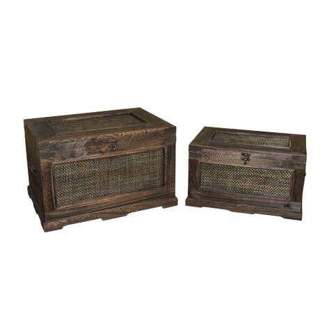 "Handmade Decorative Wood Box, Set of 2 - 17"" x 11"""