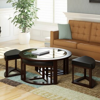 CorLiving Belgrove Espresso Coffee Table and Stool Set