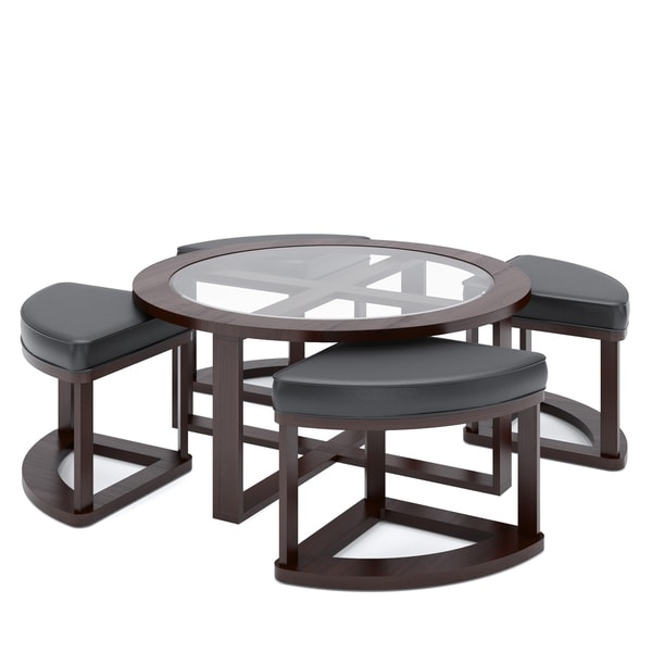Corliving Belgrove Espresso Coffee Table And Stool Set Free Shipping Today Overstock Com 16277208
