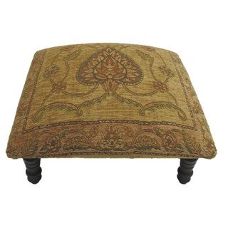 Corona Decor Victorian Design Hand-woven Tan Footstool