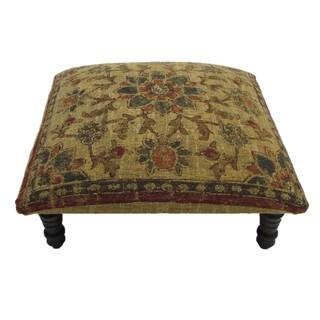Corona Decor Floral design Hand-woven Tan Footstool
