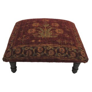 Corona Decor Floral design Hand-woven Red Tones Footstool