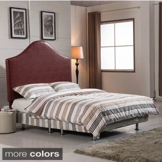 Classic Queen Size Headboard with Nailhead Trim (Option: Red Finish)