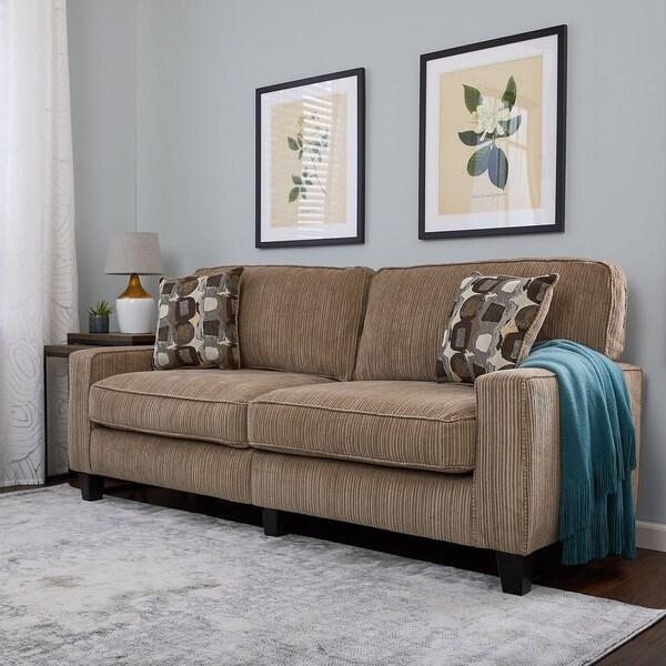 Shop Serta Rta Santa Cruz Collection 78 Inch Platinum Fabric Sofa