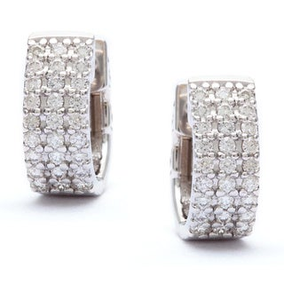 SummerRose 14k White Gold 1/2ct Pave Diamond Cuff Hoop Earrings (G-H, SI1-SI2)