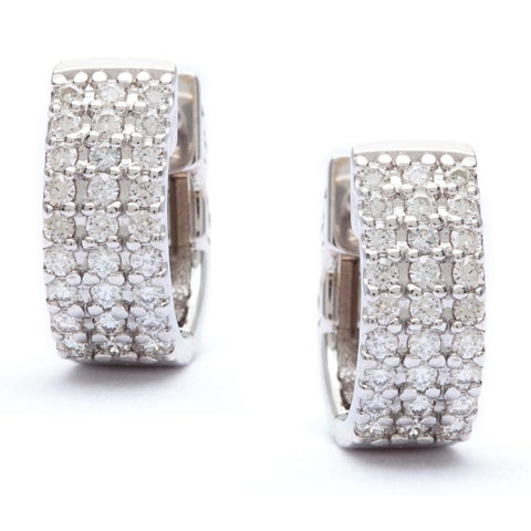 SummerRose 14k White Gold 1/2ct Pave Diamond Cuff Hoop Earrings