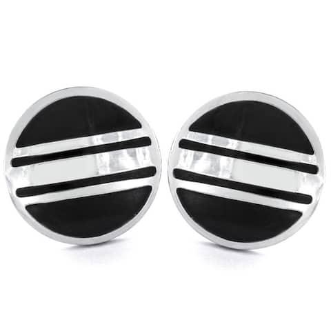 Silvertone and Black Enamel Striped Round Cuff Links