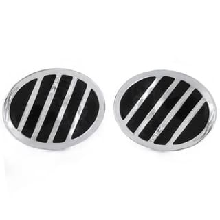 Silvertone and Black Enamel Striped Oval Cuff Links