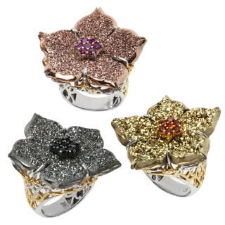 Michael Valitutti Two-tone Choice of Druzy and Gemstone 'Flower' Ring