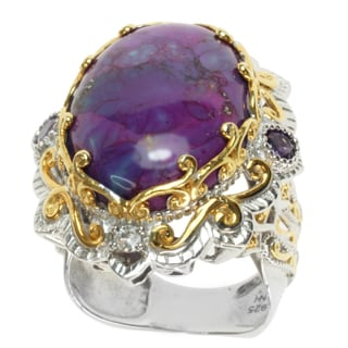 Michael Valitutti Two-tone Purple Mohave Turquoise, Amethyst and White Sapphire Ring