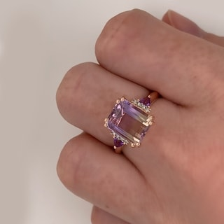 Link to Rose Plated Sterling Silver Ametrine/Amethyst/Diamond Accent Ring by Miadora Similar Items in Birthstone Jewelry