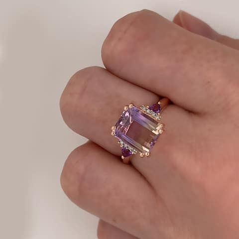 3 1/2ct TGW Ametrine Amethyst and Diamond Ring in Rose Plated Sterling Silver by Miadora