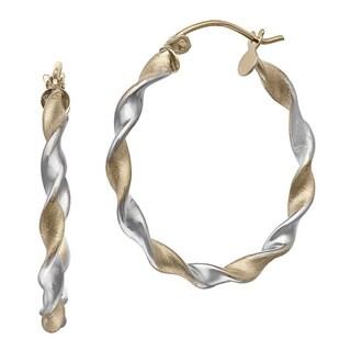 Gioelli 14k Gold Two-tone High Polish Satin Hoop Earrings