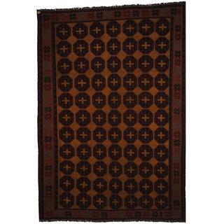 Herat Oriental Afghan Hand-woven Soumak Gold/ Peach Wool Rug (7' x 10')