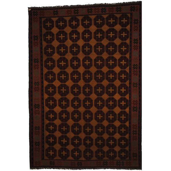 Handmade Herat Oriental Afghan Soumak Gold/ Peach Wool Rug (Afghanistan) - 7' x 10'