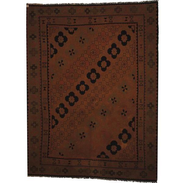 Handmade Herat Oriental Afghan Soumak Brown/ Olive Wool Rug - 7' x 10'3 (Afghanistan)