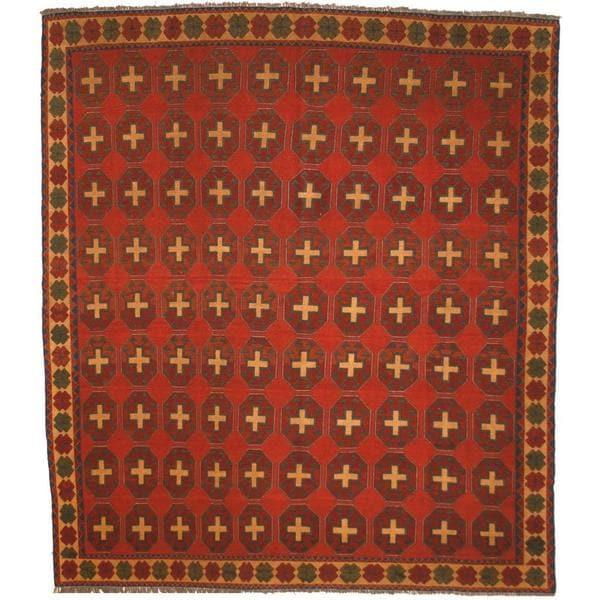 Handmade Herat Oriental Afghan Soumak Rust/ Gold Wool Rug (Afghanistan) - 7'9 x 9'
