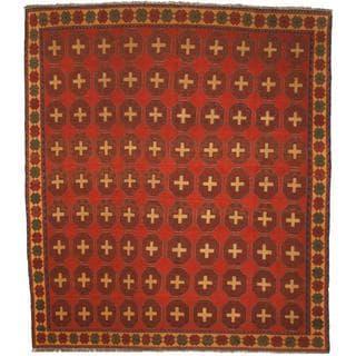 Herat Oriental Afghan Hand-woven Soumak Rust/ Gold Wool Rug (7'9 x 9')