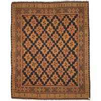 Herat Oriental Afghan Hand-woven Soumak Navy/ Grey Wool Rug (7'3 x 8'10) - 7'3 x 8'10